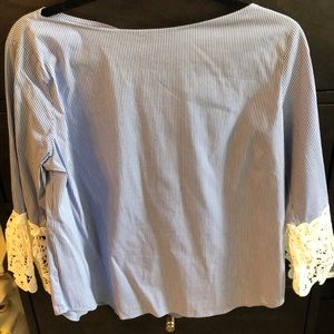 Zara Blue and White Striped Blouse